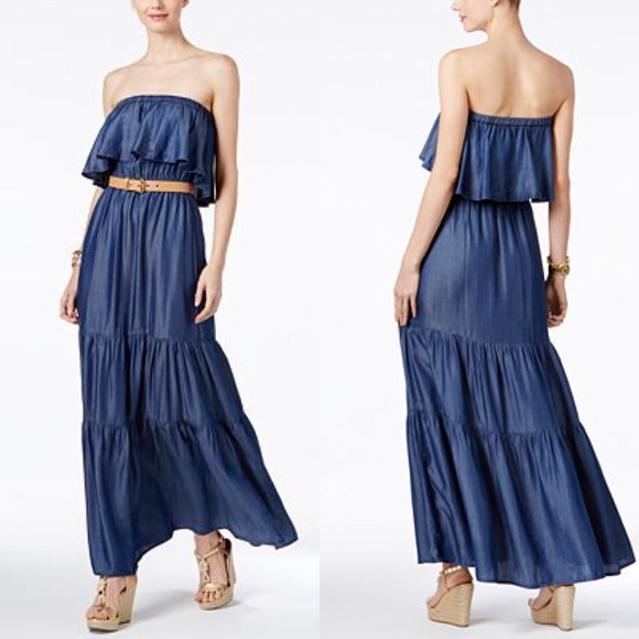 05e79ac899 Michael Kors Soft Denim Maxi Dress. M 5aa563dba44dbe0f5ef116a7